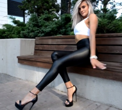 Sexy blond in black